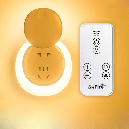 N/C Lámpara Enchufe Control Remoto Inalámbrico 5 W, Lámpara Alimentación Nocturna, Control Luz Nocturna Inducción, Lámpara Alimentación Bebés Lámpara Sueño,RemoteControl(sevenHoles) YellowLight