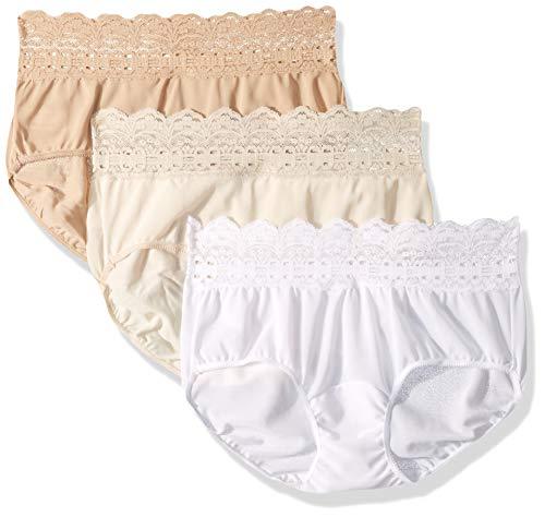Olga Women's Secret Hugs 3 Pack Hipster Panty, French Toast/Pale Blush/White, XXXL