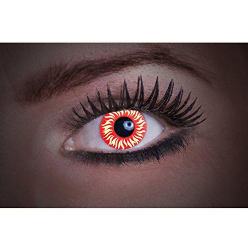 Eyecatcher Flash Wolf Color Fun, farbige UV-Kontaktlinsen / Motivlinsen, leuchten bei Schwarzlicht, 1er Pack (1 x 2 Stück)