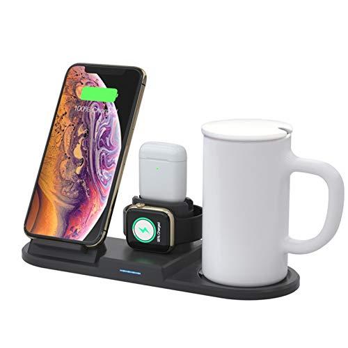 DAIM Cargador inalámbrico de 15W con Taza de termostato Inteligente para el Soporte de Cargador inalámbrico iPhone 12 SE2 XR para el Reloj de Apple para AirPods