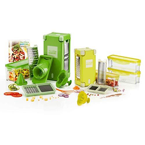 Genius Nicer Dicer Magic Cube Gourmet-Ausstattung | 25 Teile | Schneiden | Reiben | Julienne | Spiralen | Hobeln | Würfeln | Obst- und Gemüseschneider | Bekannt aus TV | NEU