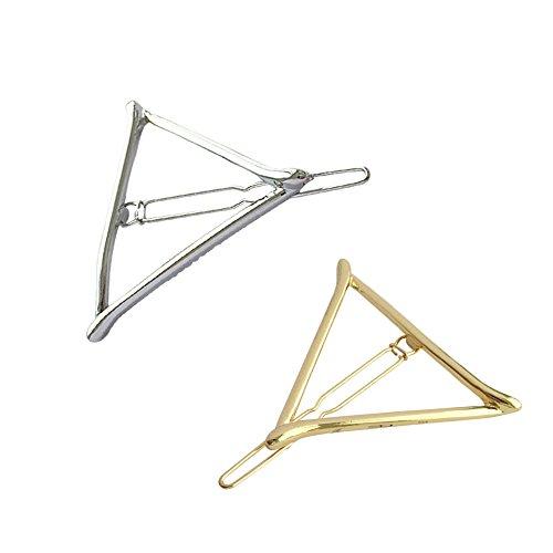 Lumanuby 2X Triangle Haarnadeln aus Legierung Mode Hohl Dreieckig Haarspangen für Damen/Mädchen Mode Haarschmuck für alle Jahreszeiten Ca. 5 * 5 * 5.0cm Gold und Silber Farbe, Haarklammern Serie