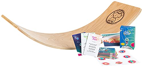 halvmoon - Kids Wobble Yoga Balancing Board - Wooden Curvy Plank Seesaw Toy - Boys and Girls Waldorf Rocker Toys for Training Balance and Open Ended Play - with 15 Yoga Cards for Children