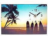 ガラスアート ピクチャー スタンドクロック ビーチ B おしゃれ 人気 時計 卓上 置き時計 サーフィン カリフォルニア ハワイ ウエーブ カフェプレゼント オシャレ 時計 西海岸風 インテリア アメリカン雑貨