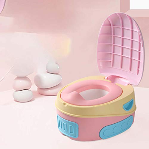 ADM6 Deux pièces Cuvette, Multi-Usage Anti-éclaboussures Dossier d'urine Design Poignée Dispositif Portable de Formation Toilettes pour Enfants, Stable et sûr,Rose