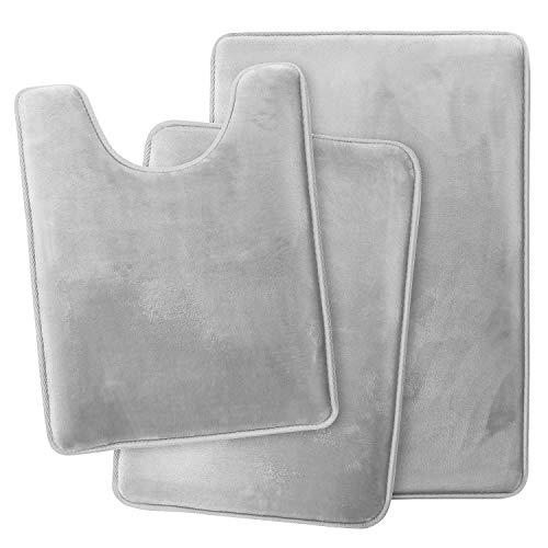 Clara Clark Memory Foam Bath Mat Ultra Soft Non Slip and Absorbent Bathroom Rug, Set of 3 - Small/Large/Contour, Silver, 3 Piece