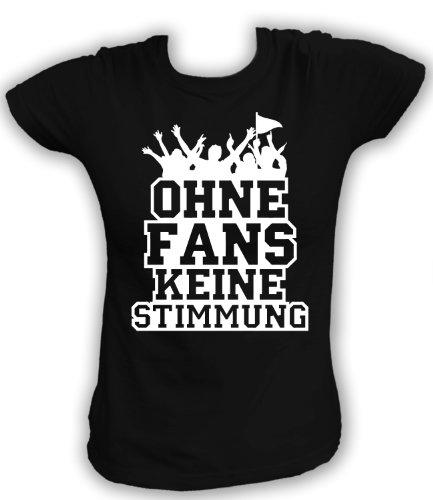 Artdiktat T-Shirt Ohne Fans Keine Stimmung Piktogramm Damen, Größe M, schwarz