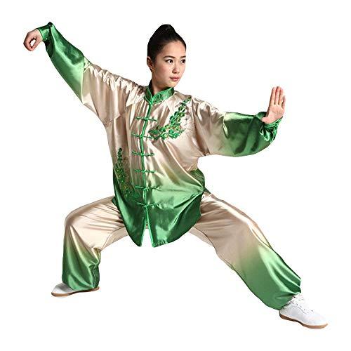AZWE Tai Chi Kleidung Male Stickerei Gradient Martial Arts Performance Kleidung Tai Chi Kleidung Morgengymnastik Kleidung Frühling und Herbst Starker Sommer Frauen,Reisgrün,* L