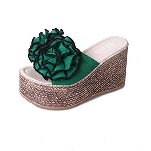 ZY&FC Zapatillas exteriores de moda para mujer, de tacón alto, impermeables, antideslizantes, con plataforma de una sola palabra, zapatos de playa, color Verde, talla 40 EU