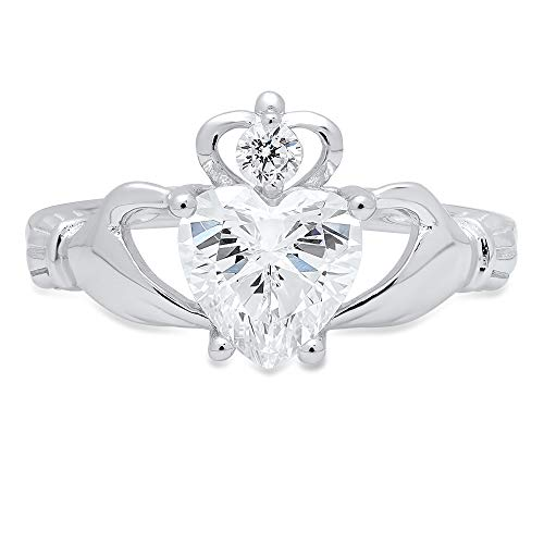 1.55 ct Heart Cut Irish Celtic Claddagh Solitaire Accent Stunning Genuine Moissanite Ideal VVS1 D & Diamond Simulant Engagement Promise Statement Anniversary Bridal Wedding Ring 14k White Gold Size 6