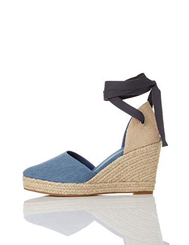 find. Women's Closed Toe Canvas Espadrille Wedge Sandal, Blue (Denim Denim), 9.5 US