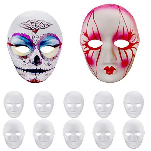 GOLRISEN 12 Stücke Maske Weiss Unbemalt Maskerade Weiß Maske DIY Dekoration Venezianischen Karneval Halloween Cosplay Kostüm Handgemalte Kreative Design Maske für Männer Frauen'