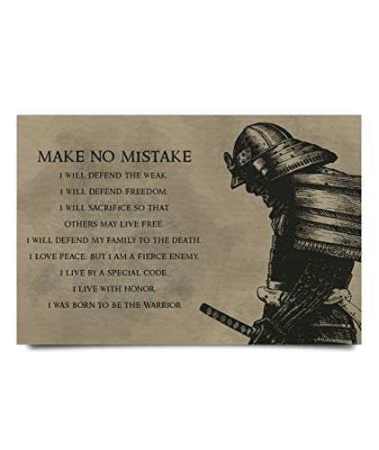 Make No Mistake I Will Defend The Weak Freedom I was Born to Be A Warrior Poster No Frame Or Framed Canvas 0.75 Inch Print in Us Novelty Quote Meaningful, Motivational