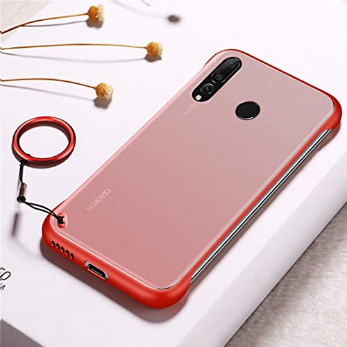 Sevenplusone Funda protectora de TPU con anillo de metal para Huawei Nova 4 (negro) Todos los botones y puertos son accesibles. (Color: rojo)