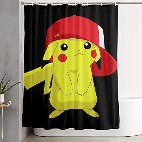LIUYAN Duschvorhang mit Haken – Pikachu mit Hut, wasserdichtes Polyestergewebe, Badezimmer-Dekoration, 152,4 x 182,9 cm