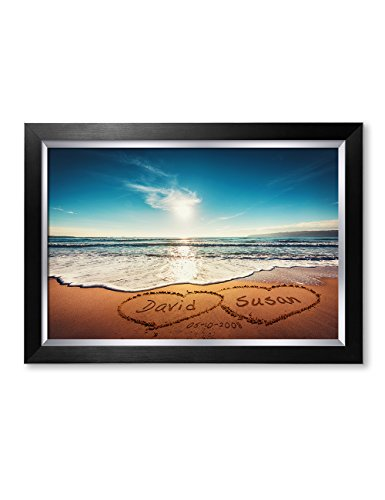 """IPIC - """"Heart in Heart, Personalized Artwork with Names and Date on, Perfect Love Gift for Anniversary,Wedding,Birthday and Holidays. Picture Size: 24x16, Framed Size: 27x19x1.25"""