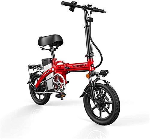 Bicicleta Eléctrica Plegable Bicicleta eléctrica de nieve, bicicletas eléctricas rápidas para adultos de 14 pulgadas ruedas de aleación de aluminio marco de aleación portátil de seguridad eléctrica pa