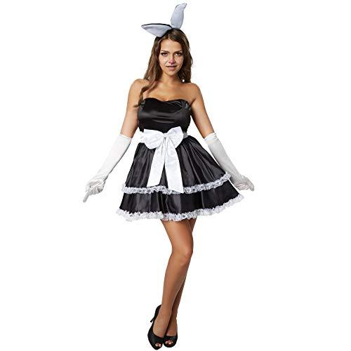 dressforfun 900478 - Damenkostüm Hot Bunny, Figurbetontes und trägerloses Kleid im Rockabilly Style (M | Nr. 302131)