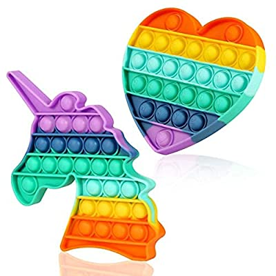Mr Rex Pop Its Rainbow Heart Unicorn Fidget Pack Sensory Toy, Silicone Push Pop Bubble Autism Stress Toy Reliever Office School Game Crafts for Kids Adults(2 Pack-Rainbow Unicorn + Heart)