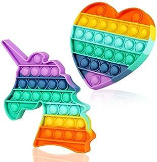 اسباب بازی حسی Mr Rex Pop It Rainbow Heart Unicorn Fidget Fidget، Silicone Push Bubble Autism Stress Toy Reliever Office School بازی های هنری برای کودکان بزرگسال