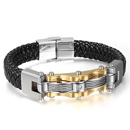 DMUEZW Goudkleurige RVS Lederen Armband Met Steen Mannelijke Vintage Accessoires Armband Sieraden
