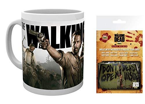 1art1 The Walking Dead, Rick Grimes Und Daryl Dixon Foto-Tasse Kaffeetasse (9x8 cm) Inklusive 1 The Walking Dead EC-Kartenhülle Kartenetui Für Fans Und Sammler (10x7 cm)