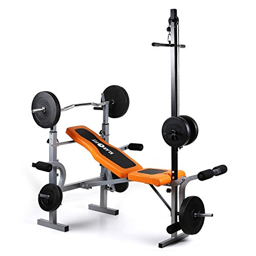 Klarfit Ultimate Gym 3500 - Banco de Entrenamiento, Dispositivo multifunción de musculación, Curler de brazos y piernas ajustable, Soporte de pesas ajustable, Carga máxima de 250 kg, Naranja