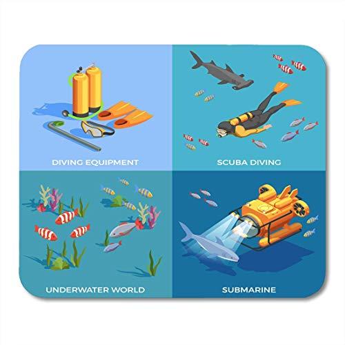 Muispads Scuba Duiken Snorkelen Isometrische Ontwerp met Vier Samenstellingen van Onderzeeër Uitrusting en Vissen Muismatten