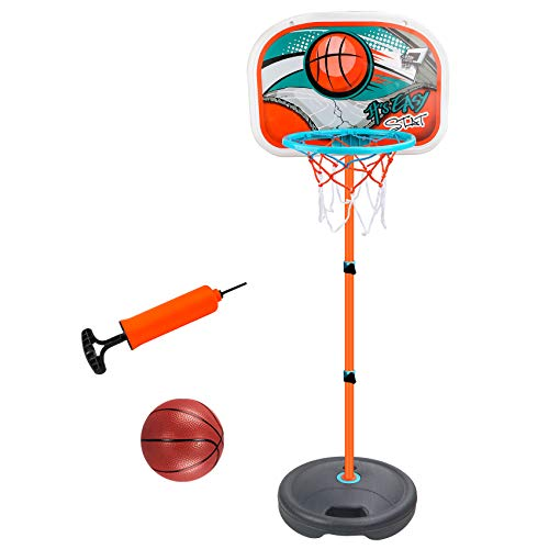 Freehawk Basketball Hoop for Kids Portable Basketball Set Kids Height-Adjustable Basketball Goal Toy with Ball Pump Kids Basketball Stand Sports Game Play Set