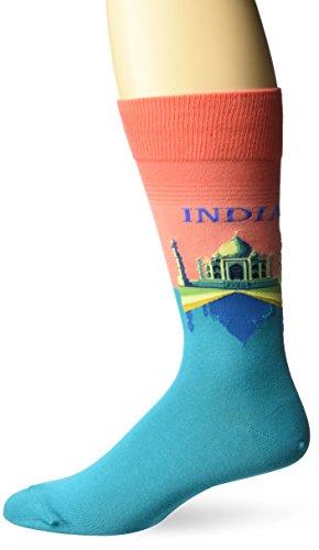 Hot Sox Men's Fashion Travel Crew Socks, India (Coral), Shoe Size: 6-12