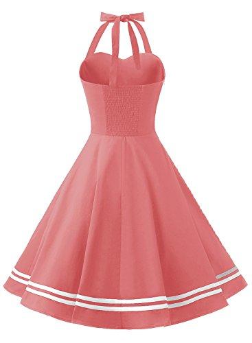 Women's Vintage Dresses 50s Cocktail Rockabilly Dress for Spring/Summer Short Halter Big Swing Party Prom Dress