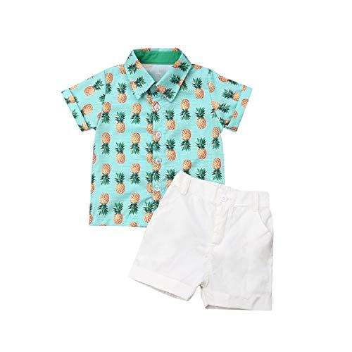 Bebé Niño Traje de 2 Piezas Conjunto Top Camisa de Manga Corta Pantalón Corto Camiseta con Estampado Infantil Ropa Verano de Playa para Vacaciones (Piñas 1, 1-2 Años)