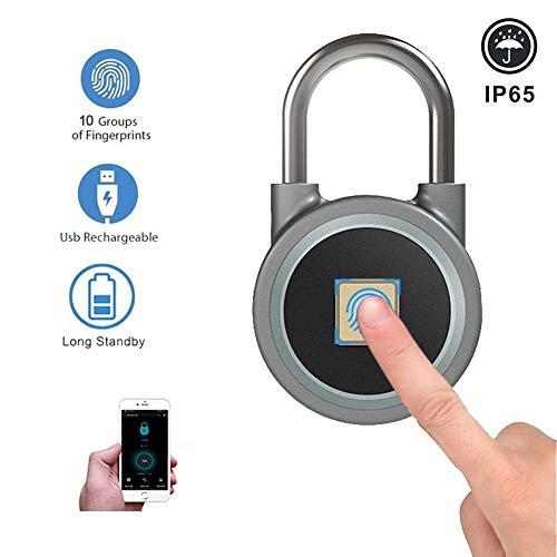 YCHBOS Fingerprint Padlock Outdoor Shed Weatherproof, Smart Bluetooth Lock USB Rechargeable Keyless Security Anti-Theft Travel Padlock Luggage Lock