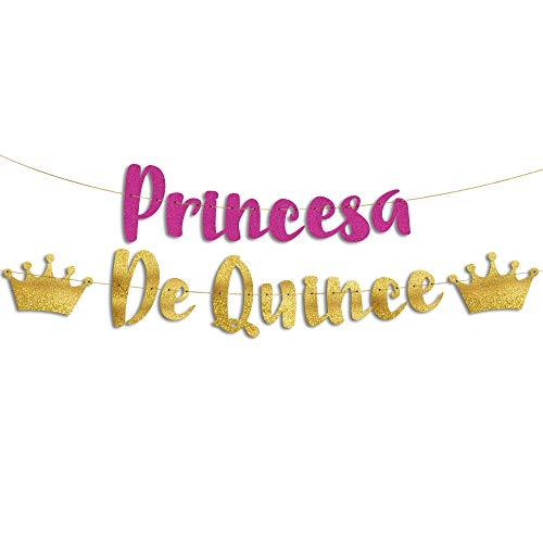 """Sterling James Co. Letras Decorativas 15 Años """"Princesa de Quince"""" Doradas con Purpurina - Cartel Decoración Fiesta de Cumpleaños Quinceañera - Banner Reutilizable Guirnalda"""