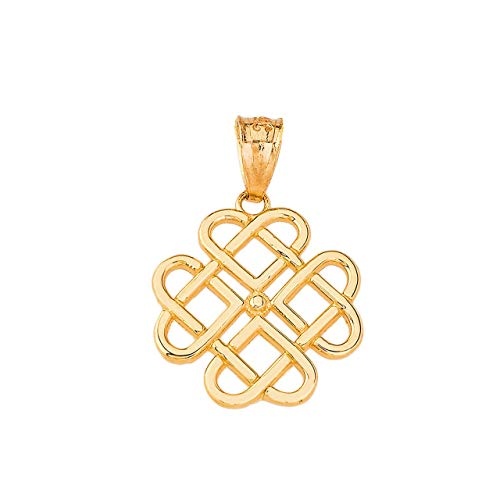 Certified 10k Yellow Gold Endless Celtic Knot Heart Infinity Charm Pendant