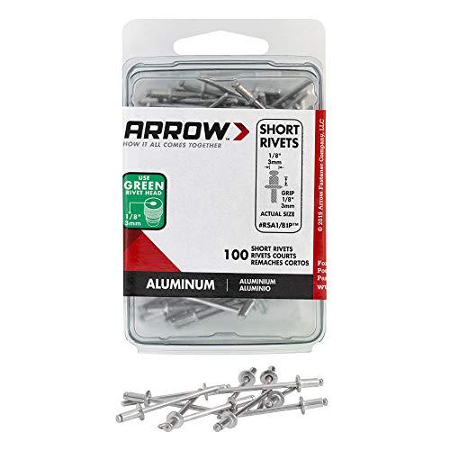 Arrow Fastener RSA1/8IP Short Aluminum 1/8-Inch Rivets, 100-Pack