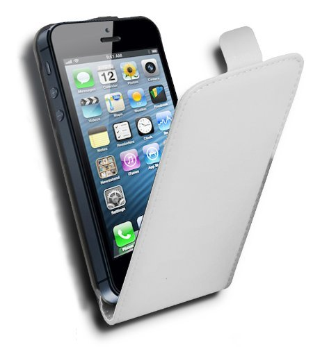 Cadorabo Custodia per Apple iPhone 5 / iPhone 5S / iPhone SE in Bianco Flash - Protezione in Stile Flip di Similpelle Fine - Case Cover Wallet Book Etui