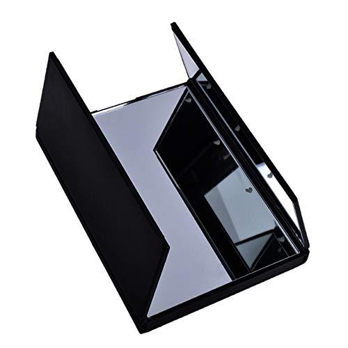Led Pliage Miroir De Maquillage, Miroir De Maquillage Avec La Lumière/Led Light Up Miroir/Miroir Avec éclairage Tri-fold Maquillage Miroir Cosmétique Voyage Compact Pocket (Color : Noir)