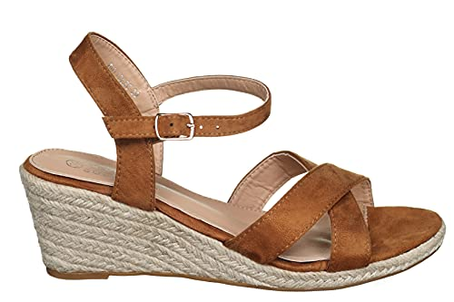 La Bottine Souriante - Sandale compensée Bhyy0826 Camel - Taille 37 - Couleur Beige
