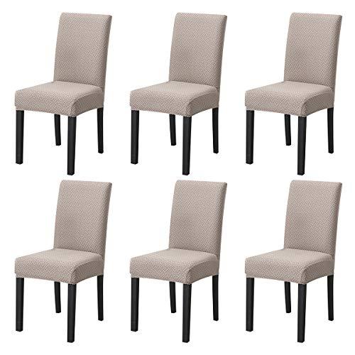 LiveGo - Funda para silla de comedor elástica (6 unidades), color beige