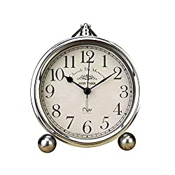 Table Alarm Clock, Cookadvan 5.2 Inch Classic Silver Silent Non-Ticking Analogue Quartz Clock with Snooze Function and HD Glass, Battery Operated, for Bedroom Living Room and Office (Arab)
