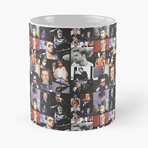 Wham Signature George Michael Collage Montage - Best 11 Ounce Ceramic Mug - Classic Mug for Coffee, Tea, Chocolate or Latte