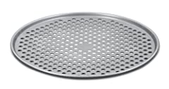 14-inch pizza pan with perforated surface for crisping crust Heavy gauge aluminized steel construction for even heating Nonstick interior and exterior for easy food release and cleanup Thick rolled edges to prevent warping Dishwasher-safe; lifetime l...