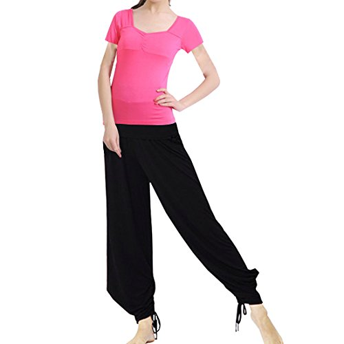 Sidiou Group Modale Yoga-Sets Yoga-Kleidung Yoga-Anzug Mode dünnen Yoga-Anzug Sport Anzug modische Sportanzug (rot schwarz, L)