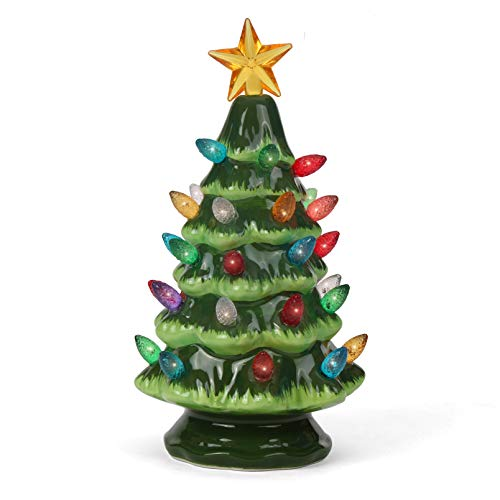 Ceramic Christmas Tree - Tabletop Christmas Tree with Lights - (6.75' Small Green Christmas Tree/Multicolored Lights) - Lighted Vintage Ceramic Tree