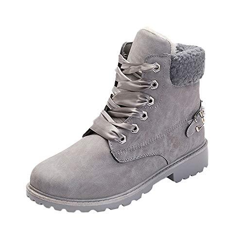 WWricotta Damen Stiefel Freizeitschuhe Plateauschuhe Plüsch Schnürschuhe Schneeschuhe Schneestiefel Warme Gefütterte Winterstiefel Flache Schuhe
