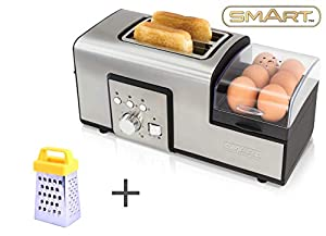 SMART Breakfast Master Toaster Bundle with Free Mini Grater – Breakfast Maker and Sandwich Toaster – Boil, Poach Or Fry Eggs While Preparing Your Toast SBM2000
