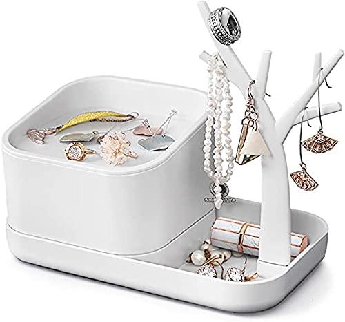 Joyero para mujer, organizador de maquillaje, organizador de joyas, organizador de escritorio, árbol para anillos, pendientes, collares, regalos para niñas y mujeres