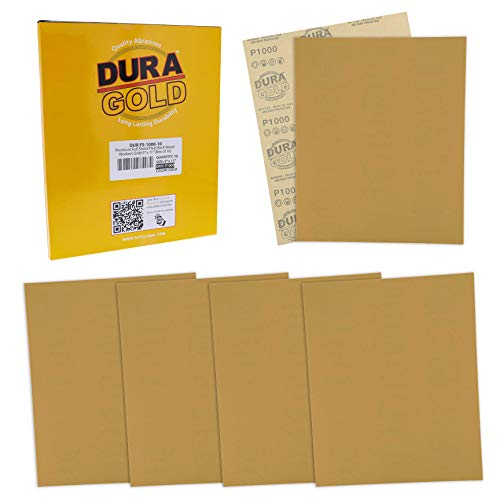 Dura-Gold Premium Sandpaper - 1000 Grit - Full Size 9' x 11' Sheets, Wood Workers Gold, Plain Backing - Box of 10 Sheets - Hand Sand Block Sanding, Cut for Use On 1/4, 1/3, 1/2 Sheet Finishing Sanders