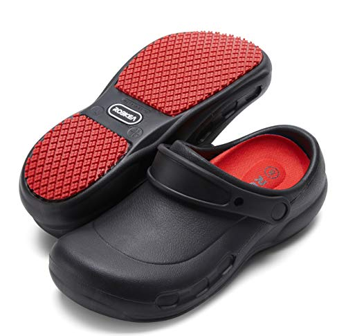 Professional Slip Resistant Clogs | Oil Resistant Waterproof | Safety Work for Crews Non Slip for Chef Nurse Shoes | Garden Shoe Indoor and Outdoor Slippers for Kitchen Office Seaside Black